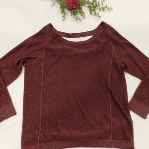 a.n.a. Burgandy/ Gold Metalic Sweater